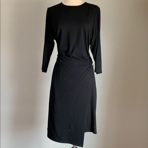 J JILL SOLID BLACK KNIT DRESS SIZE L